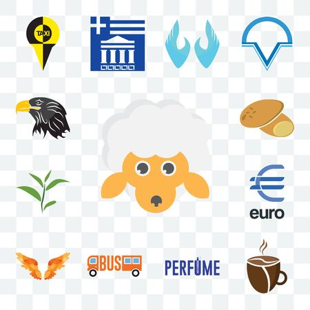 Set Of 13 transparent editable icons such as, cafeteria, angel wings, euro, tea leaf, potato, eagle head, web ui icon pack