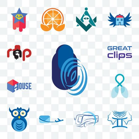 Set Of 13 transparent editable icons such as thumbprint, , bus company, air mail, owl lung cancer, house, great clips, rap, web ui icon pack