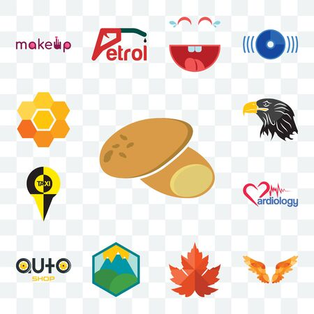 Set Of 13 transparent editable icons such as potato, angel wings, maple leaf, pic, auto shop, cardiology, , eagle head, honeycomb, web ui icon pack