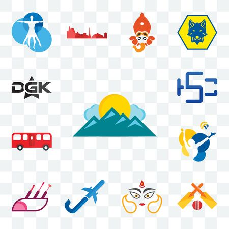 Set Of 13 transparent editable icons such as mountain, cricket, durga, pilot flying j, makeup artist, volleyball, bus, hsc, dgk, web ui icon pack Ilustracja