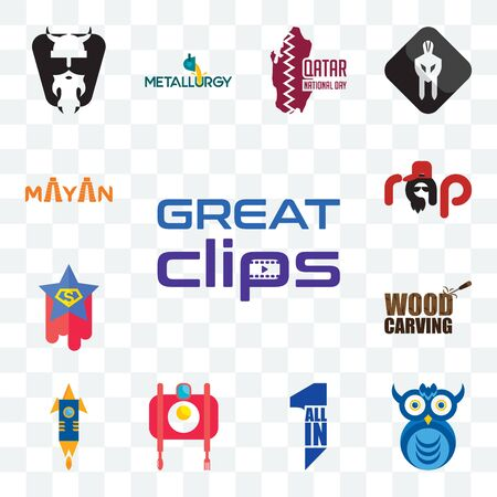 Set Of 13 transparent editable icons such as great clips, owl company, all in one, food photography, stellar, wood carving, superstar, rap, mayan, web ui icon pack