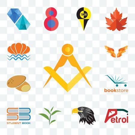 Set Of 13 transparent editable icons such as masonic, petrol, eagle head, tea leaf, student book, bookstore, potato, angel wings, sea shell, web ui icon pack