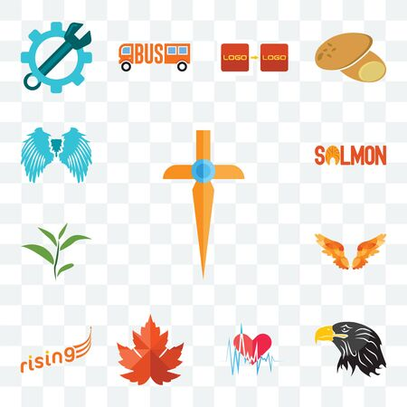 Set Of 13 transparent editable icons such as church cross, eagle head, heartbeat, maple leaf, rising, angel wings, tea salmon, wing, web ui icon pack