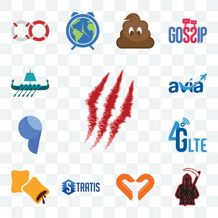 Set Of 13 transparent editable icons such as claw mark, grim reaper, handicraft company, stratis, krave, 4g lte, comma, avia, viking ship, web ui icon pack