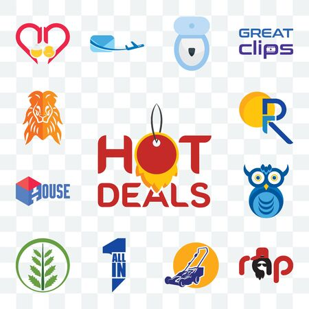 Set Of 13 transparent editable icons such as hot deals, rap, lawn mower, all in one, fern, owl company, house, pr, orange lion, web ui icon pack Ilustracja