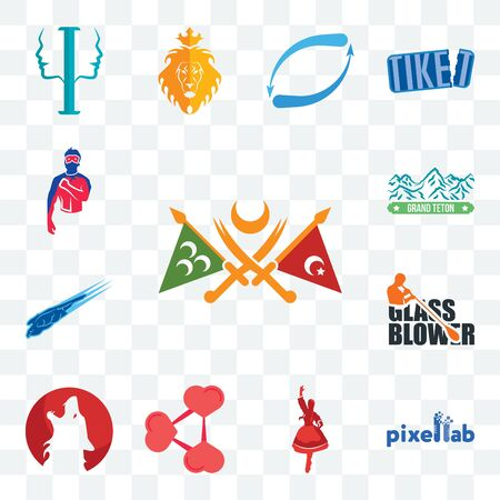 Set Of 13 transparent editable icons such as ottoman empire, pixellab, polish dancer, share png, kurt, glass blower, peregrine falcon, grand teton, generic superhero, web ui icon pack Illustration