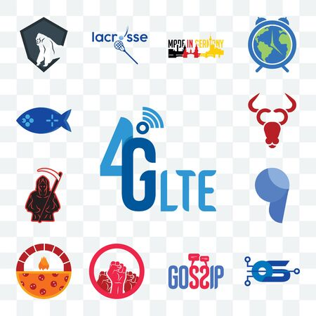 Set Of 13 transparent editable icons such as 4g lte, operating system, gossip, social justice, brick oven pizza, comma, grim reaper, cattle company, fishing game, web ui icon pack Illustration