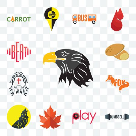 Set Of 13 transparent editable icons such as eagle head, dumbbell, play, maple leaf, , potato, beat, web ui icon pack