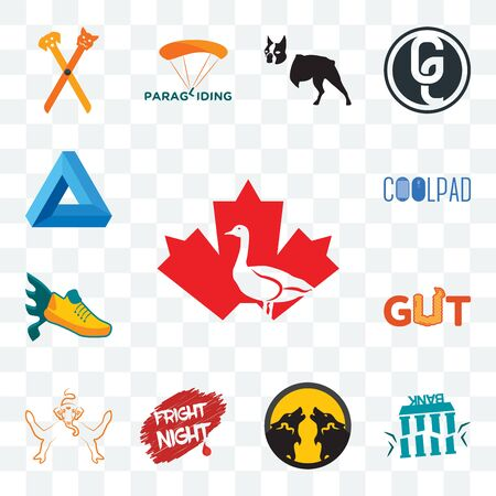 Set Of 13 transparent editable icons such as canada goose, fake bank, pack wolf, fright night, ganesh, gut, flying shoe, coolpad, penrose triangle, web ui icon 版權商用圖片 - 150459196