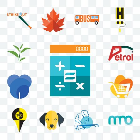 Set Of 13 transparent editable icons such as calculator, 3 letter, s music, dog face, , trolley, dent, petrol, tea leaf, web ui icon pack Illustration