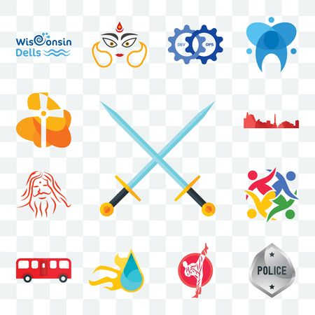Set Of 13 transparent editable icons such as excalibur, generic police, karate, liquid nitro, bus, unity, patanjali, leipzig hd, church, web ui icon pack