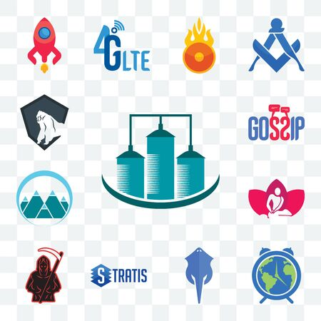 Set Of 13 transparent editable icons such as silo, earth hour, stingray, stratis, grim reaper, massage therapist, mont, gossip, king kong, web ui icon pack