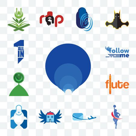 Set Of 13 transparent editable icons such as golden ratio, cheerleader, air mail, house with wings, fishing store, flute, muslim crescent, follow me, all in one, web ui icon pack