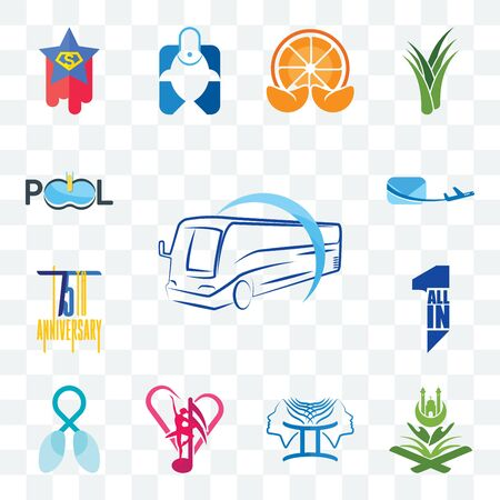 Set Of 13 transparent editable icons such as bus company, quran, culture club, lung cancer, all in one, 75th anniversary, air mail, pool web ui icon pack