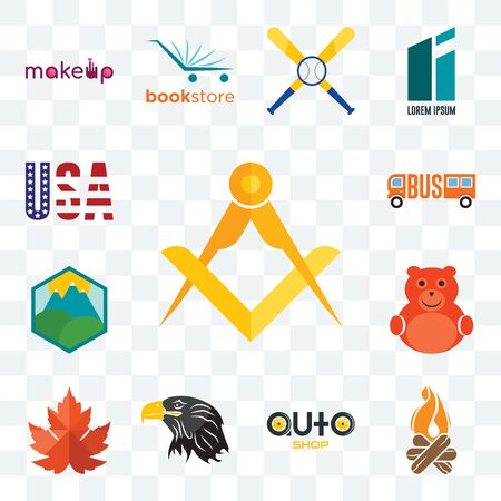 Set Of 13 transparent editable icons such as masonic, bonfire, auto shop, eagle head, maple leaf, cute bear, pic, , american flag, web ui icon pack