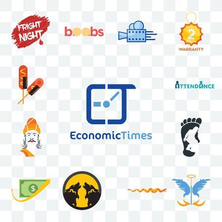 Set Of 13 transparent editable icons such as economic times, guardian angel, rattlesnake, pack wolf, cashback, bigfoot, ashoka, attendance, corn dog, web ui icon Vektorgrafik
