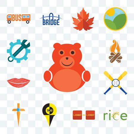 Set Of 13 transparent editable icons such as cute bear, , turn, church cross, baseball team, lip, bonfire, spanner, web ui icon pack