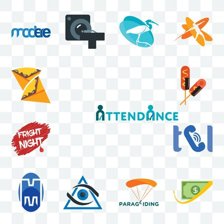 Set Of 13 transparent editable icons such as attendance, cashback, paragliding, third eye, double m, , fright night, corn dog, crepe, web ui icon pack  イラスト・ベクター素材