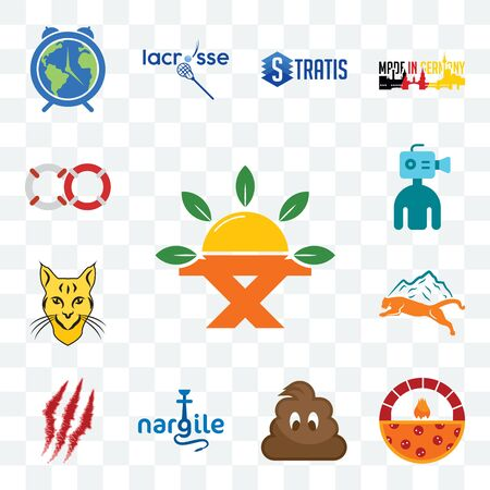 Set Of 13 transparent editable icons such as farm to table, brick oven pizza, poop, nargile, claw mark, mountain lion,   cameraman, life preserver, web ui icon pack Stock Illustratie