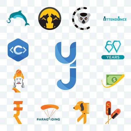 Set Of 13 transparent editable icons such as yj, corn dog, dog groomer, paragliding, rupee, cashback, ashoka, diamond jubilee, c language, web ui icon pack Illusztráció