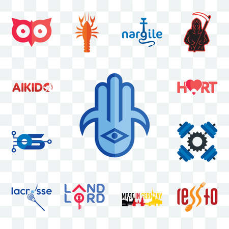 Set Of 13 transparent editable icons such as hamsa, , made in germany, landlord, lacrosse, operating system, hart, aikido, web ui icon pack