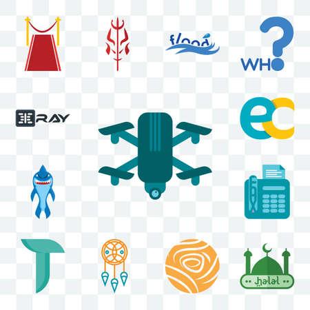 Set Of 13 transparent editable icons such as quadcopter, halal, golden rose, dream catcher, teal, fax, shark mascot, ec, xray, web ui icon pack Illusztráció