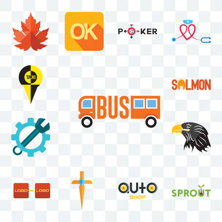 Set Of 13 transparent editable icons such as, sprout, auto shop, church cross, turn, eagle head, spanner, salmon, web ui icon pack Illusztráció