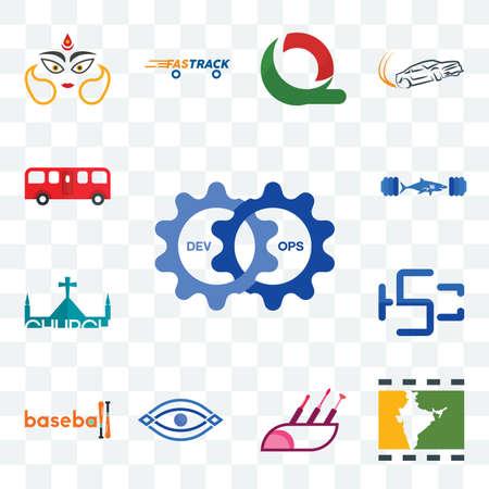 Set Of 13 transparent editable icons such as devops, bollywood, makeup artist, eye, baseball, hsc, church, gymshark, bus, web ui icon pack Illusztráció