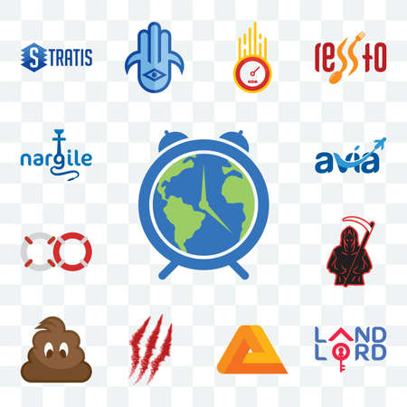 Set Of 13 transparent editable icons such as earth hour, landlord, penrose, claw mark, poop, grim reaper, life preserver, avia, nargile, web ui icon pack