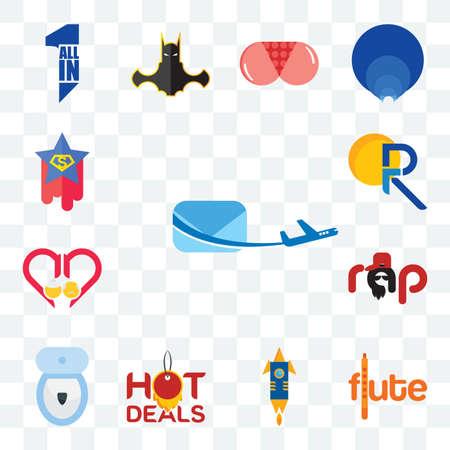 Set Of 13 transparent editable icons such as air mail, flute, stellar, hot deals, toilet bowl, rap, senior care, pr, superstar, web ui icon pack Illusztráció