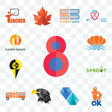 Set Of 13 transparent editable icons such as number 8, , diamond, eagle head, sprout, sea shell, web ui icon pack
