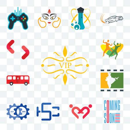 Set Of 13 transparent editable icons such as vip, coming soon, friendship, hsc, devops, bollywood, bus, , SH, web ui icon pack Illusztráció