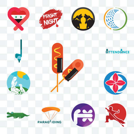 Set Of 13 transparent editable icons such as corn dog, wushu, fx white, paragliding, croc, healer, dog trainer, attendance, , web ui icon pack