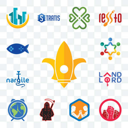 Set Of 13 transparent editable icons such as lis, social justice, arm wrestling, grim reaper, earth hour, landlord, nargile, peoples, fishing game, web ui icon pack Illusztráció