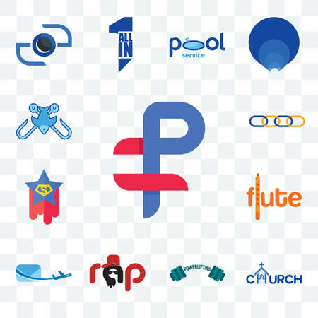 Set Of 13 transparent editable icons such as ruble, church, powerlifting, rap, air mail, flute, superstar, supply chain, fishing tournament, web ui icon pack