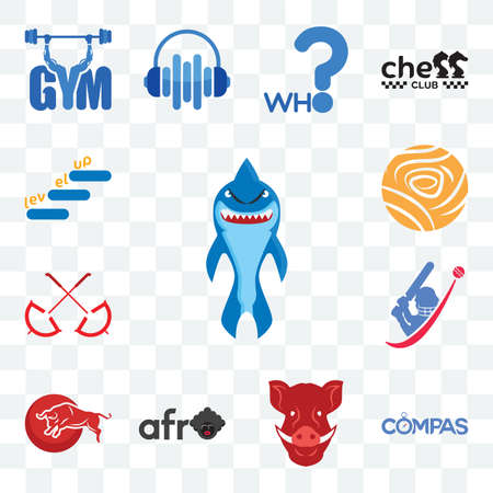 Set Of 13 transparent editable icons such as shark mascot, compas, boars head, afro, bull, cricket, umbrella, golden rose, level up, web ui icon pack