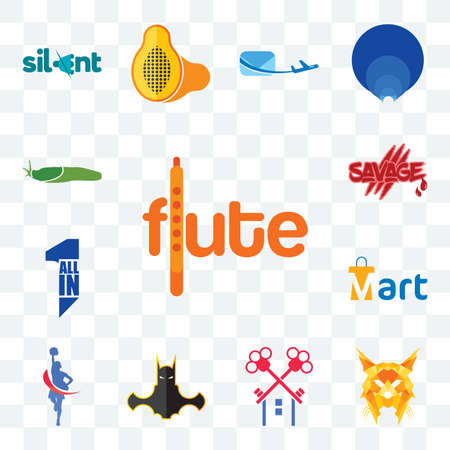 Set Of 13 transparent editable icons such as flute, lynx, , bat man, cheerleader, mart, all in one, savage, slug, web ui icon pack