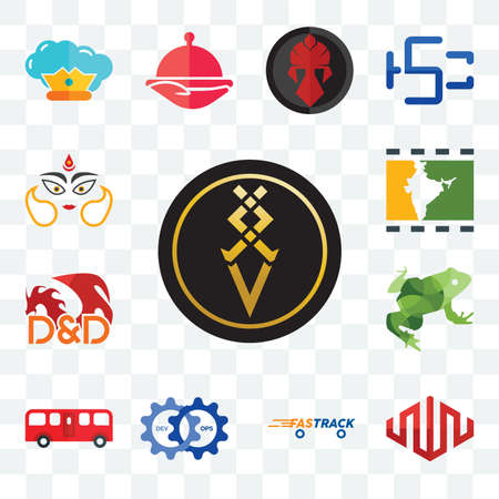 Set Of 13 transparent editable icons such as luxury, equinix, fastrack, devops, bus, big frog, dungeons and dragons, bollywood, durga, web ui icon pack Illusztráció