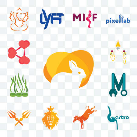 Set Of 13 transparent editable icons such as rabit, gastro, kicking mule, judah and the lion, trishul, photo mechanic, spirulina, laxmi, share png, web ui icon pack