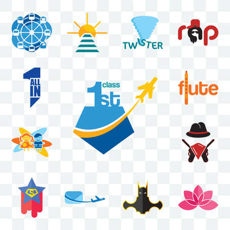 Set Of 13 transparent editable icons such as, lotos, bat man, air mail, superstar, outlaws, childcare, flute, all in one, web ui icon pack