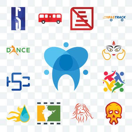 Set Of 13 transparent editable icons such as dental, skull, patanjali, bollywood, liquid nitro, unity, hsc, durga, dance, web ui icon pack