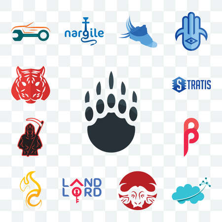 Set Of 13 transparent editable icons such as grizzly claw, nervous system, buffalo brand, landlord, c fire, , grim reaper, stratis, tiger, web ui icon pack