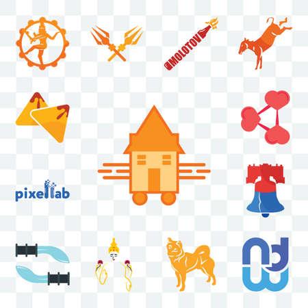 Set Of 13 transparent editable icons such as tiny house, wnd, shiba inu, laxmi, gurkha, liberty bell, pixellab, share png, samosa, web ui icon pack