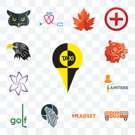 Set Of 13 transparent editable icons such as, headset, wolf, golf, painters, lily flower, bear head, eagle web ui icon pack