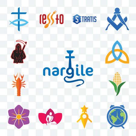 Set Of 13 transparent editable icons such as nargile, earth hour, guidestar, massage therapist, saffron, corn stalk, crawfish, holy trinity, grim reaper, web ui icon pack Illusztráció