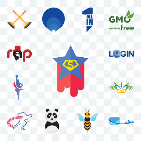 Set Of 13 transparent editable icons such as superstar, air mail, hornet, panda mascot, track and field, carnaval, cheerleader, login, rap, web ui icon pack