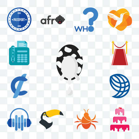 Set Of 13 transparent editable icons such as milk company, cake cockroach, tucan, audio visual, wire globe, cent, carpet, fax, web ui icon pack