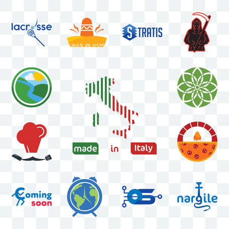 Set Of 13 transparent editable icons such as made in italy, nargile, operating system, earth hour, coming soon, brick oven pizza, master chef, jasmine, creek, web ui icon pack Illusztráció