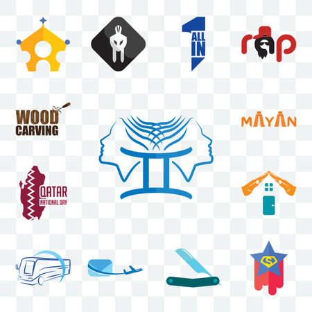 Set Of 13 transparent editable icons such as, superstar, straight razor, air mail, bus company, realestate, qatar national day, mayan, wood carving, web ui icon pack Illusztráció
