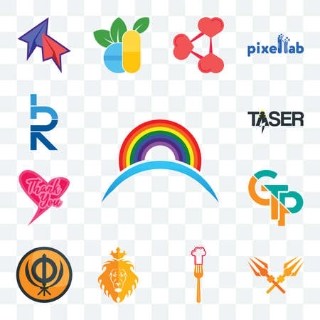Set Of 13 transparent editable icons such as rainbow, trishul, resturent, judah and the lion, sikhism, gtp, thank you, taser, hrd, web ui icon pack